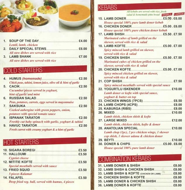 Menu at anatolia restaurant london 277 high rd leyton for Anatolia mediterranean cuisine menu