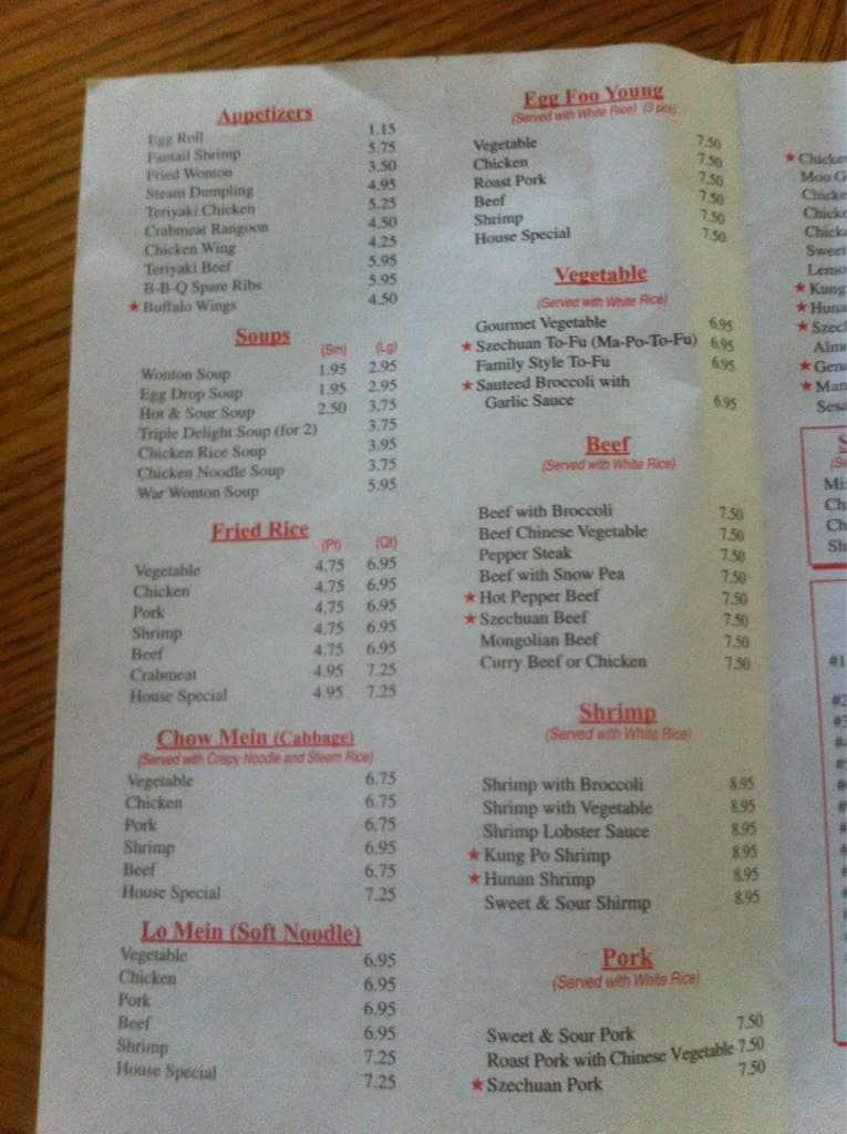 China Inn Chinese Restaurant Havelock Menu