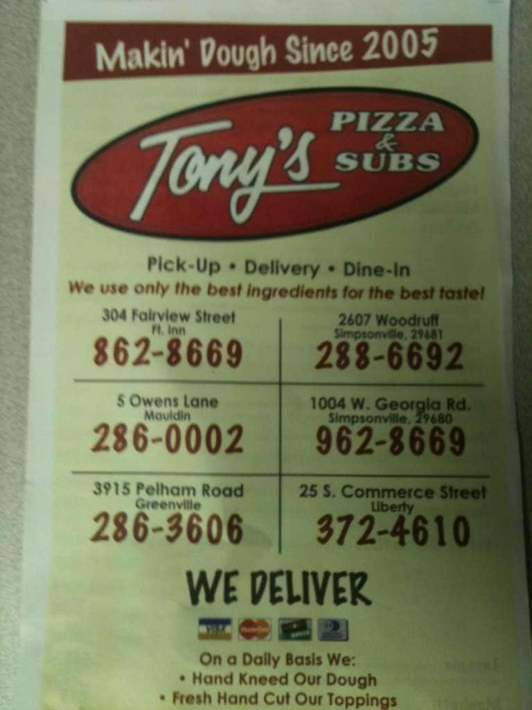 Tonys Pizza Sub Menu Urbanspoonzomato