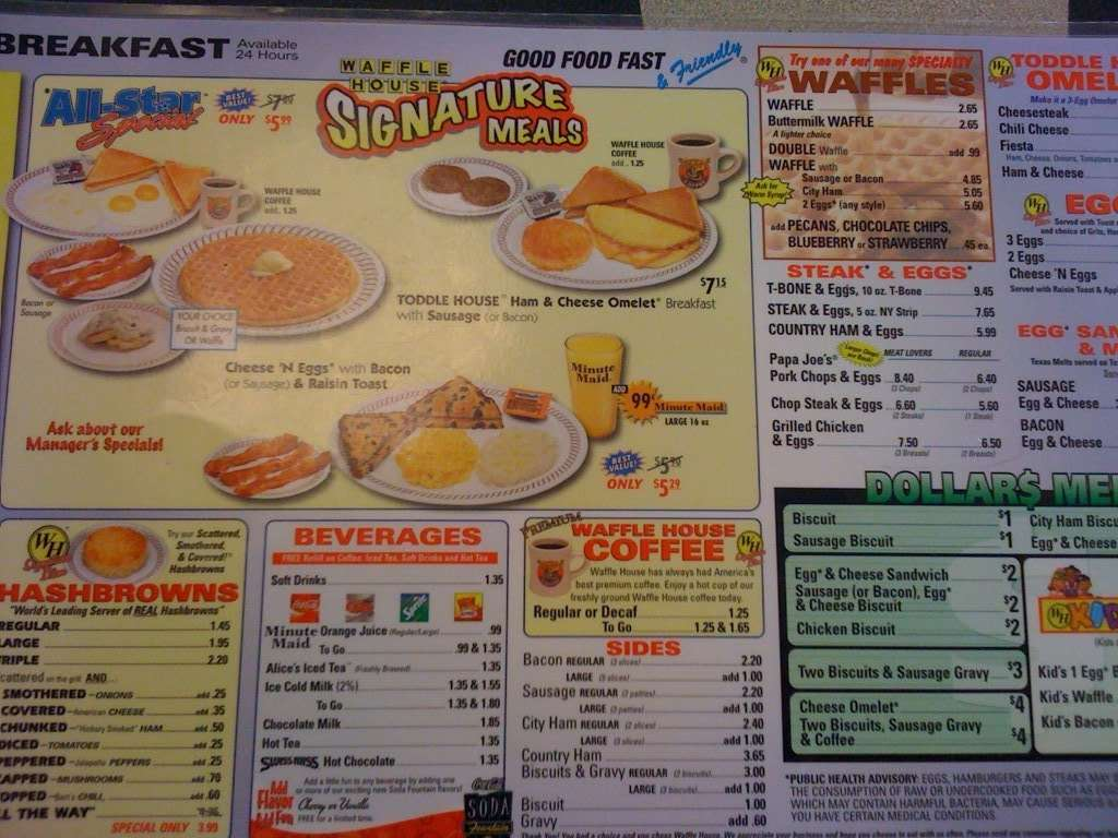 Waffle house menu menu for waffle house florence for Waffle house classic jukebox favorites