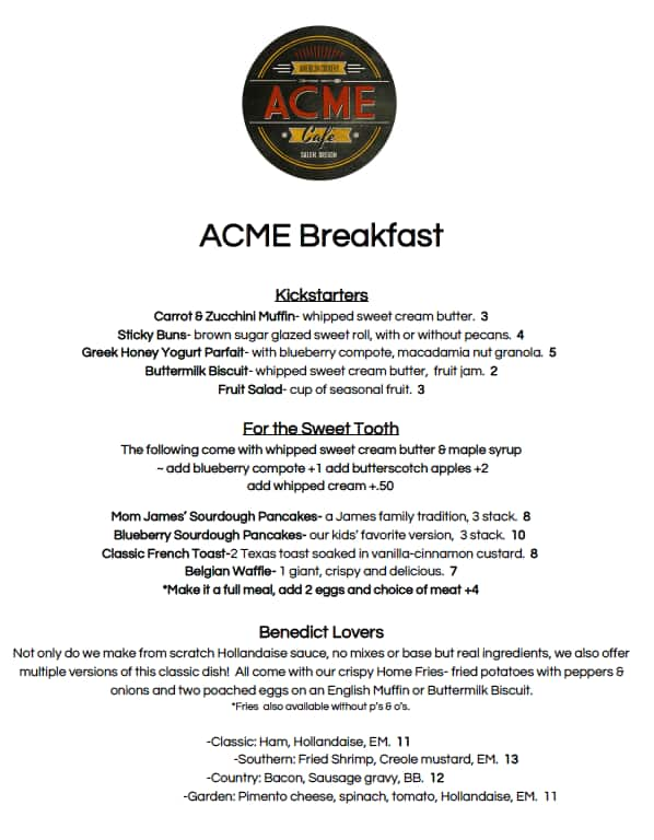 Acme Cafe Menu Menu for Acme Cafe Salem Salem UrbanspoonZomato