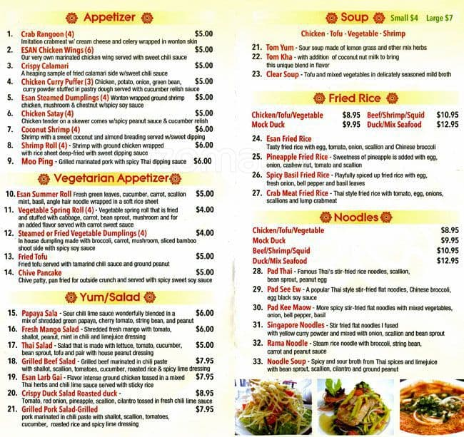 Esan Thai Food Menu Menu For Esan Thai Food Sunnyside New York