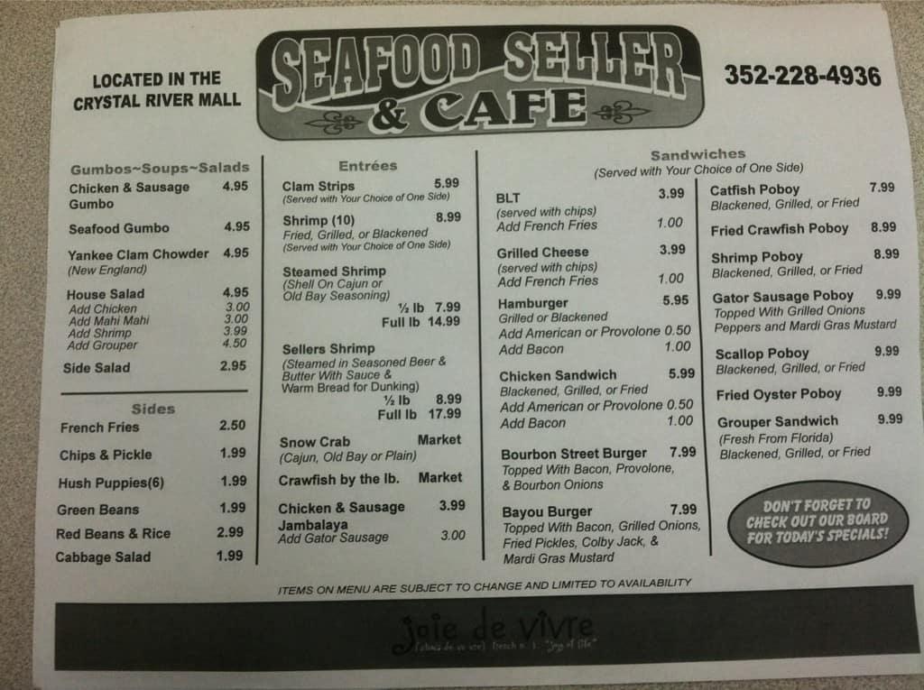 Seafood Seller And Cafe Menu