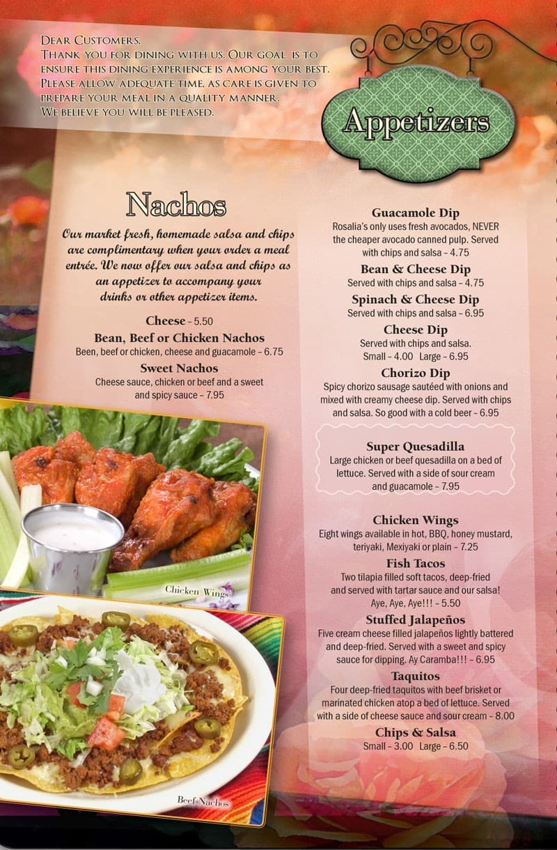 Rosalia S Mexican Restaurant Menu Urbanspoon Zomato