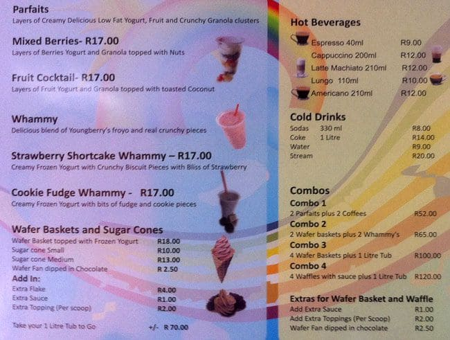 Youngberry Frozen Yorghurt Menu - Zomato SA
