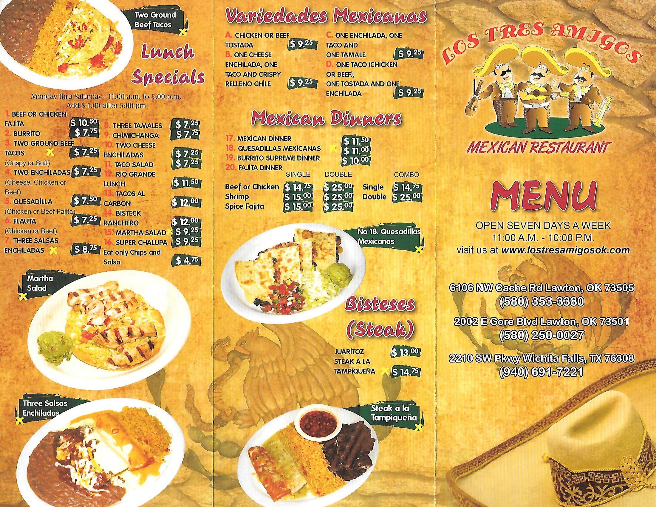 los tres amigos menu, menu for los tres amigos, lawton, lawton