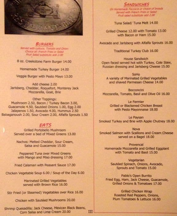 The Cupping Room Cafe Menu, Menu for The Cupping Room Cafe, Soho ...