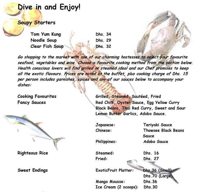Fish market menu menu for fish market baniyas dubai for Two fish menu