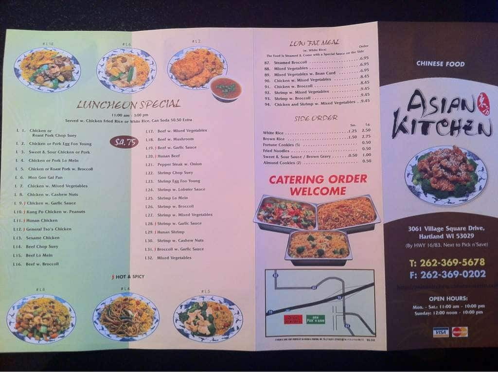 Menu at asian kitchen restaurant hartland for Asia asian cuisine menu