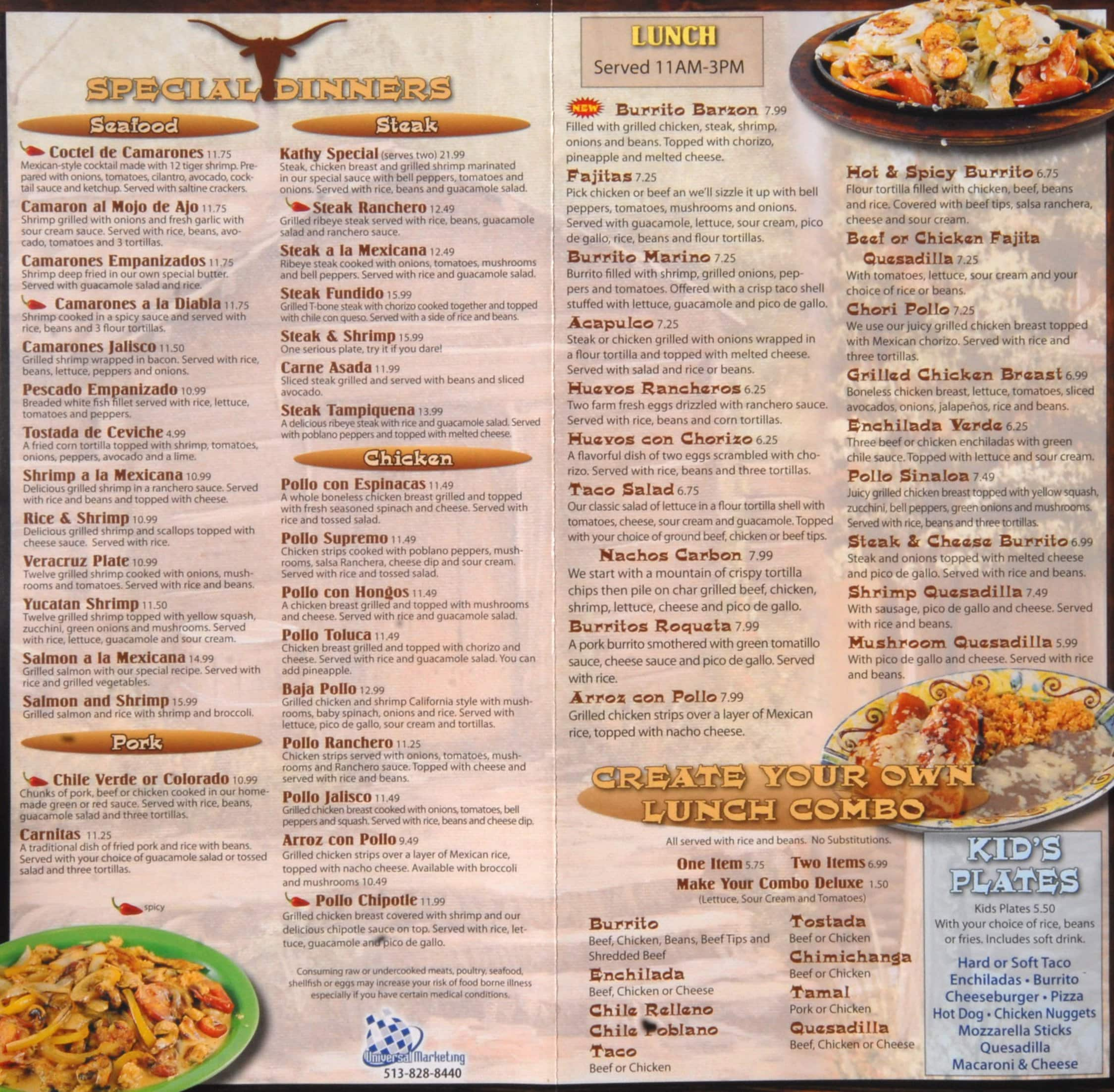 El Jinete Mexican Restaurant Menu