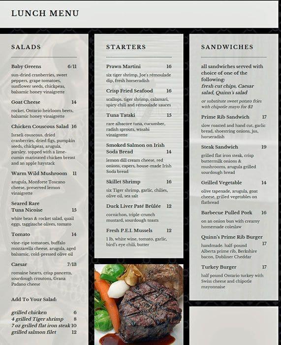 Quinn S Steakhouse Restaurant Toronto