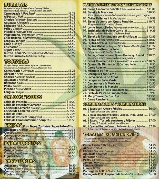 Taqueria El Tapatio Menu For