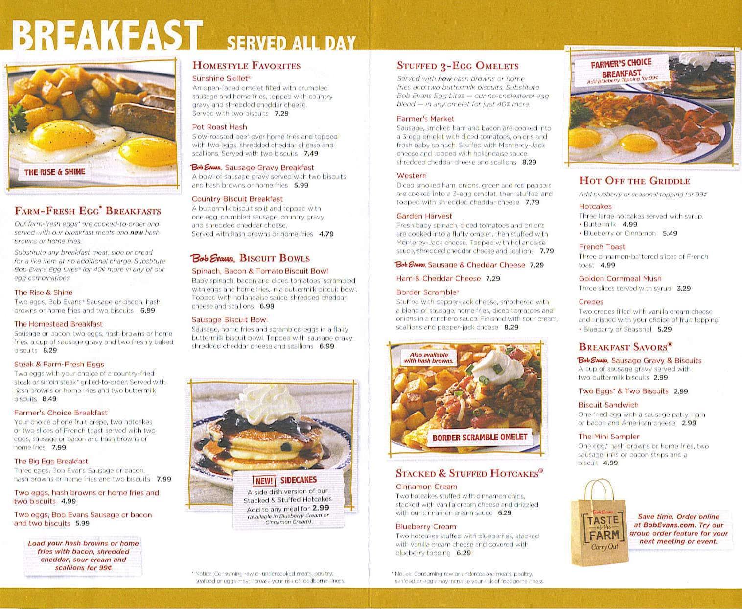 Bob Evans Breakfast Menu