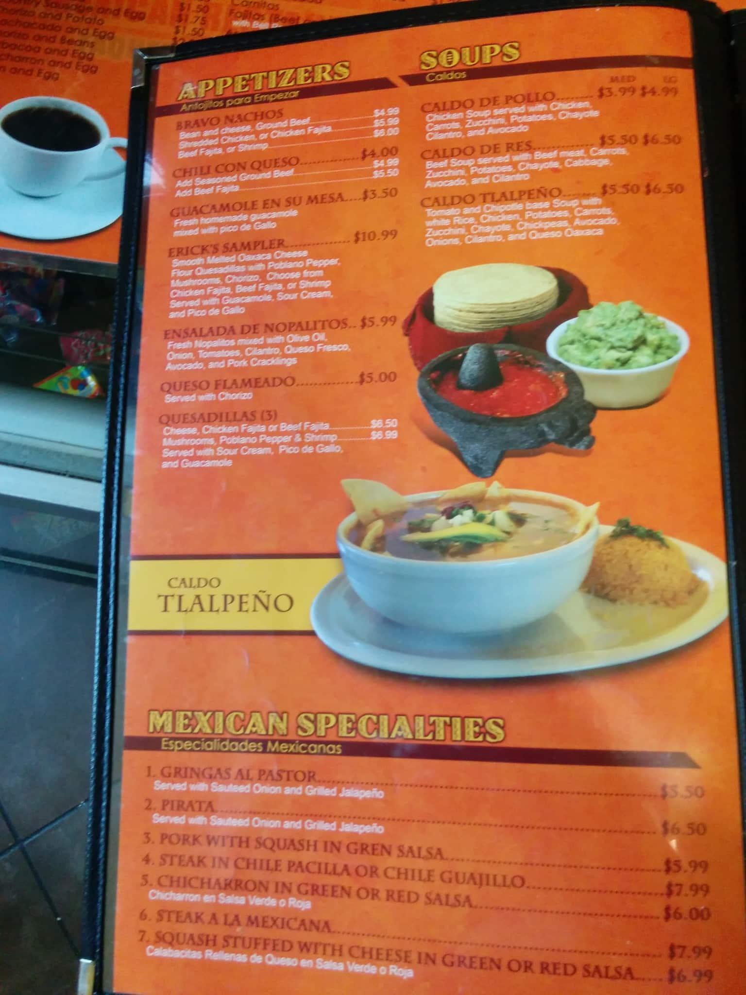 Menu at Erick s Tacos Nacogdoches Rd Restaurant prices