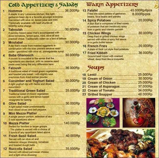 Layali menu menu for layali legian bali zomato indonesia for Arabian cuisine menu