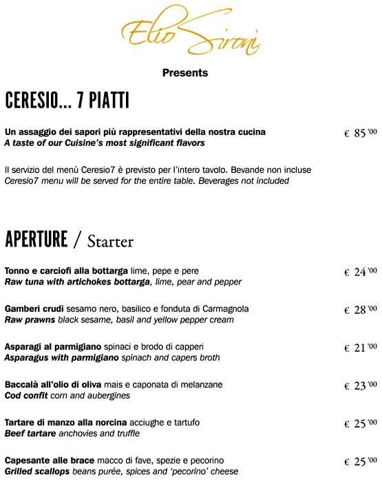 Ceresio 7 Menu Menu For Ceresio 7 Garibaldi Milano