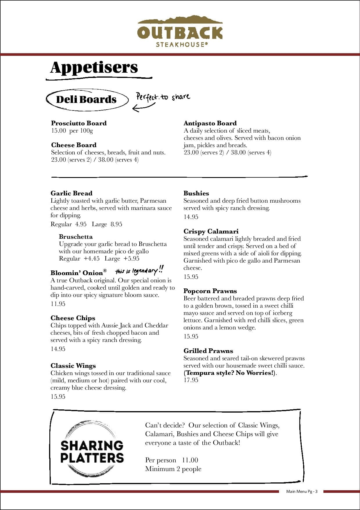 outback steakhouse menu, menu for outback steakhouse, north