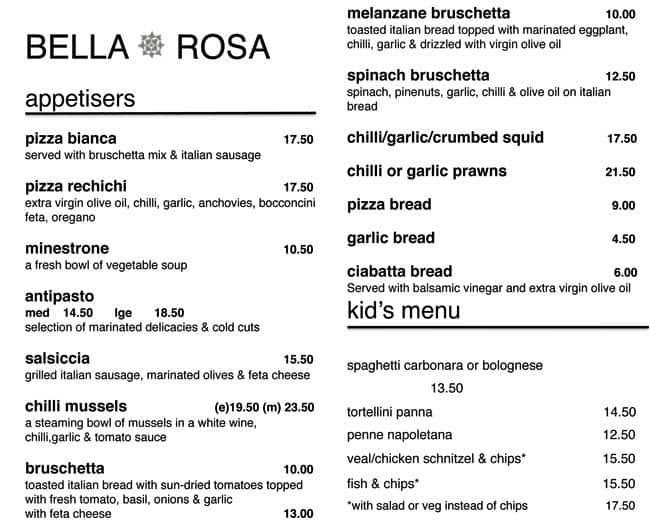 Cafe Bella Rosa Menu Victoria Park