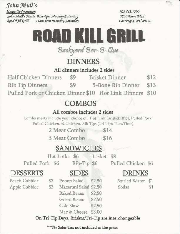 Roadkill Cafe Menu Las Vegas