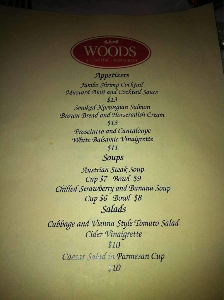 The Woods Restaurant Menu Menu For The Woods Restaurant Mackinac