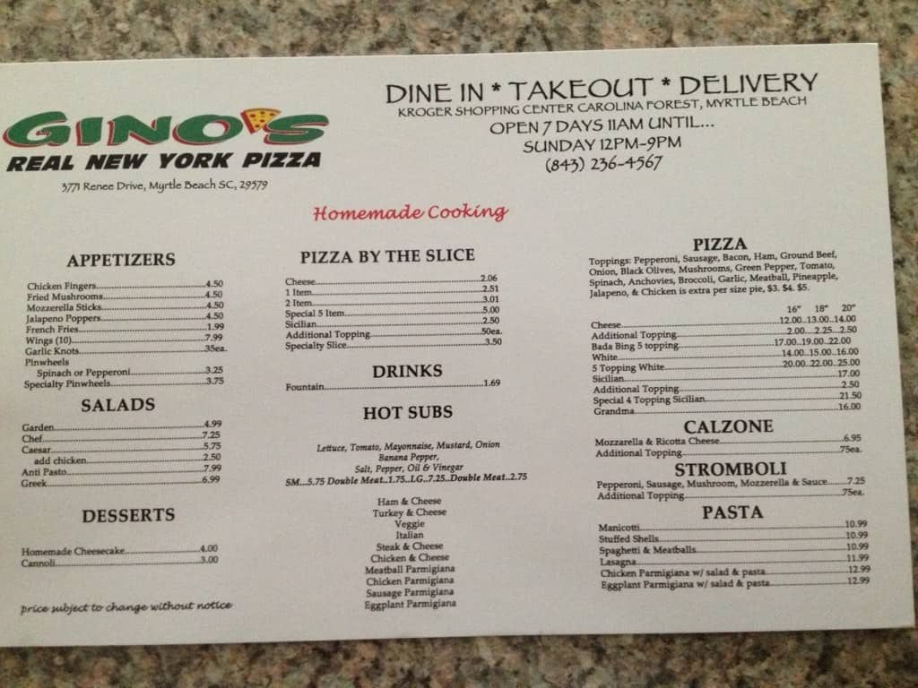 ginos real new york pizza menu - urbanspoon/zomato