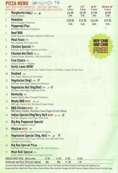 Big Boy Pizza Menu Menu For Big Boy Pizza Hayes London