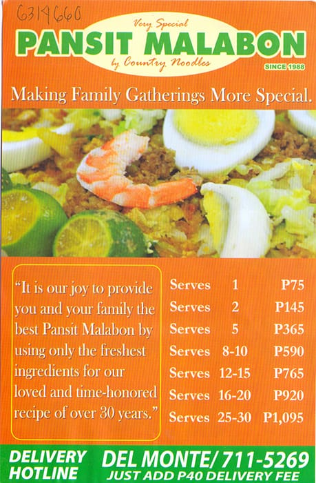 Pansit Malabon by Country Noodles Menu - Zomato Philippines