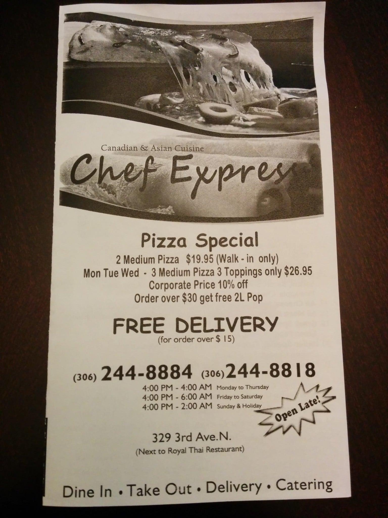 Menu at Chef Express restaurant, Saskatoon