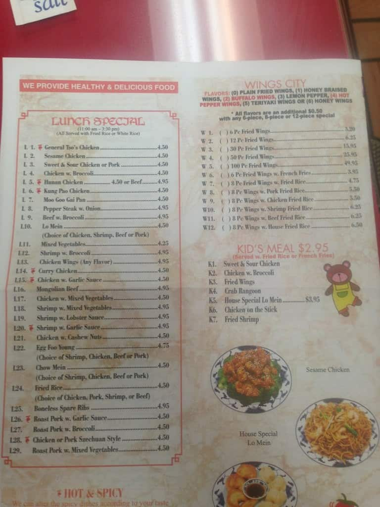 Ming S Restaurant Menu Menu For Ming S Restaurant Macon