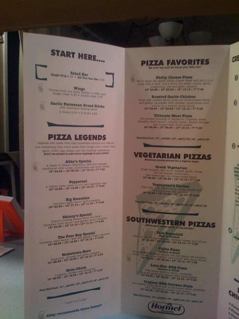 Abby S Legendary Pizza Menu Urbanspoon Zomato