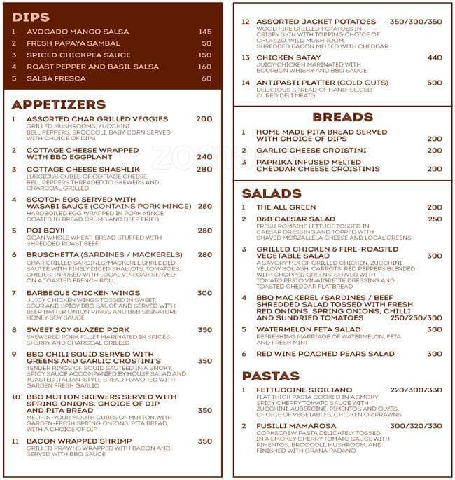 Bones Restaurant Menu Prices