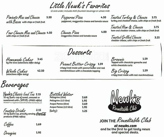 photograph about Newks Printable Menu named Newks Eatery Menu, Menu for Newks Eatery, Idle Hour Determination