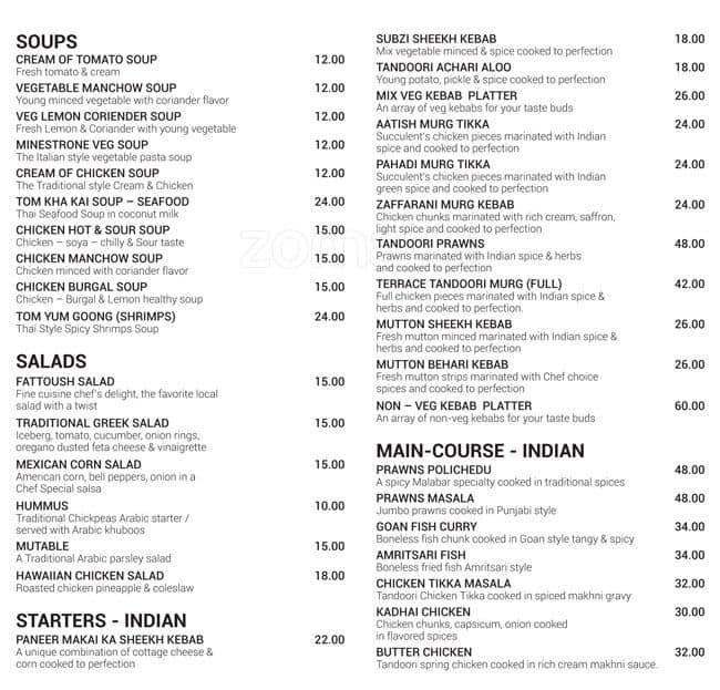 The terrace menu menu for the terrace al jurf ajman for Terrace restaurant menu