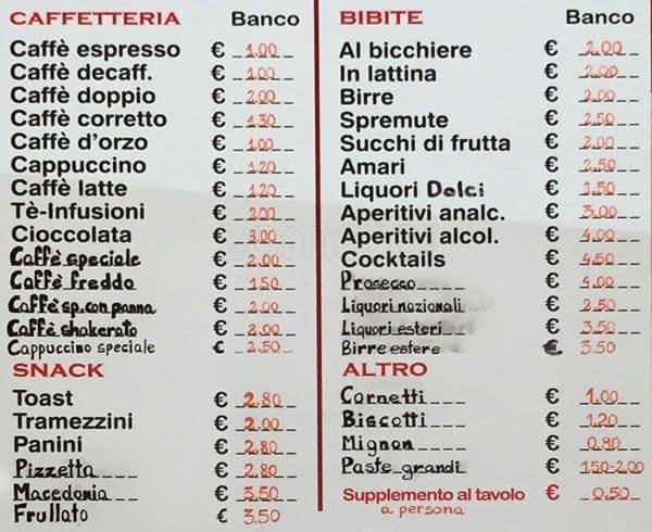 Preferenza Antica Caffetteria Trastevere a Roma: Foto del Menu con Prezzi  HP31