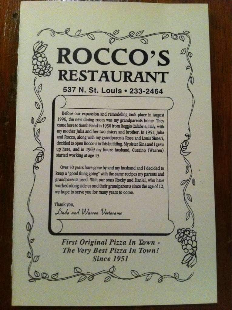 Roccos Restaurant Menu Menu For Roccos Restaurant South Bend