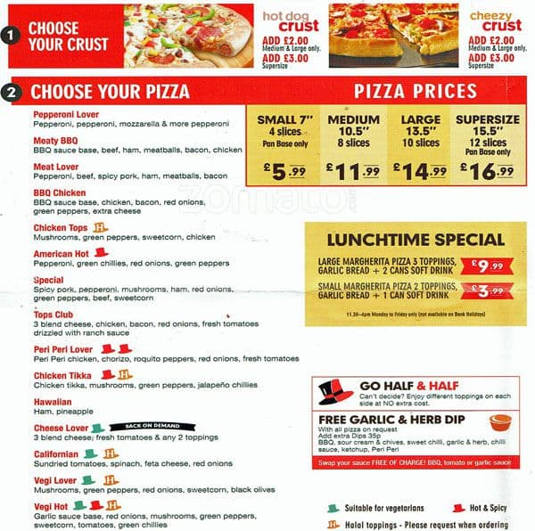 Tops Pizza Menu Menu For Tops Pizza Harrow London Zomato Uk