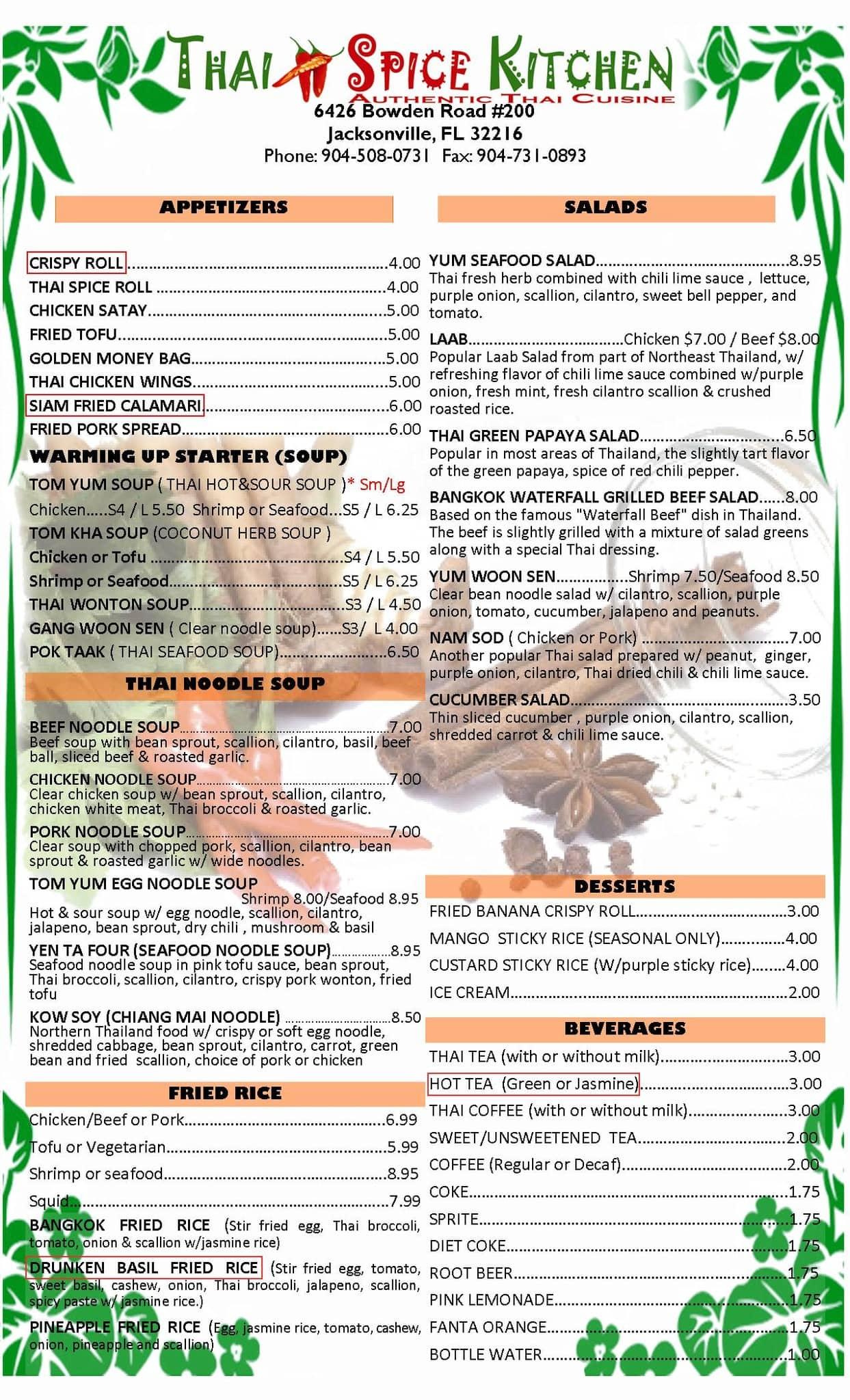 Thai Spice Kitchen Menu, Menu for Thai Spice Kitchen, Southside ...