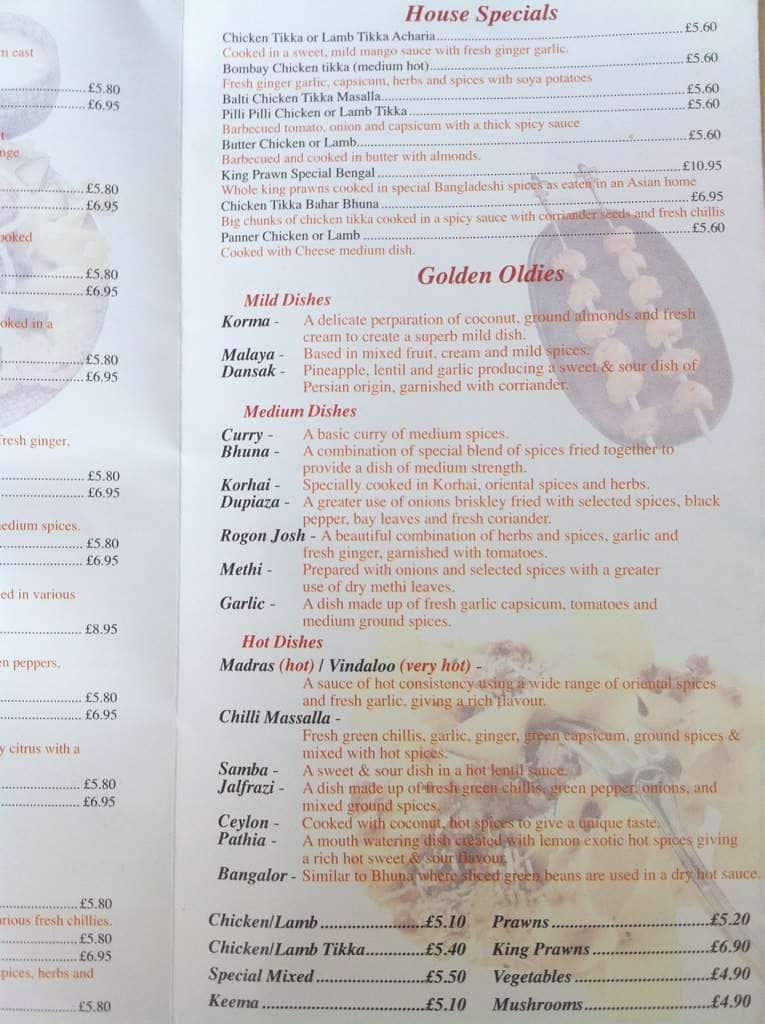 Menu At Balti Massalla Fast Food Nantwich