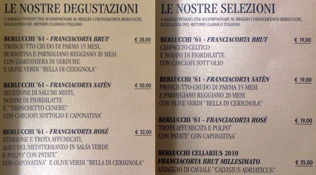 Berlucchi Franciacorta Lounge A Milano Foto Del Menu Con