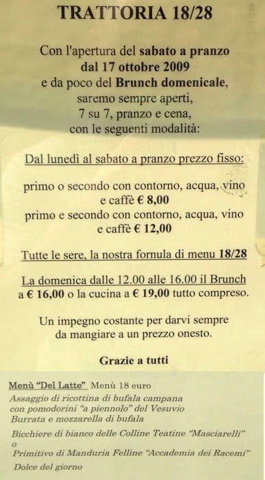Trattoria 18/28 Menu, Menu for Trattoria 18/28, Porta Romana