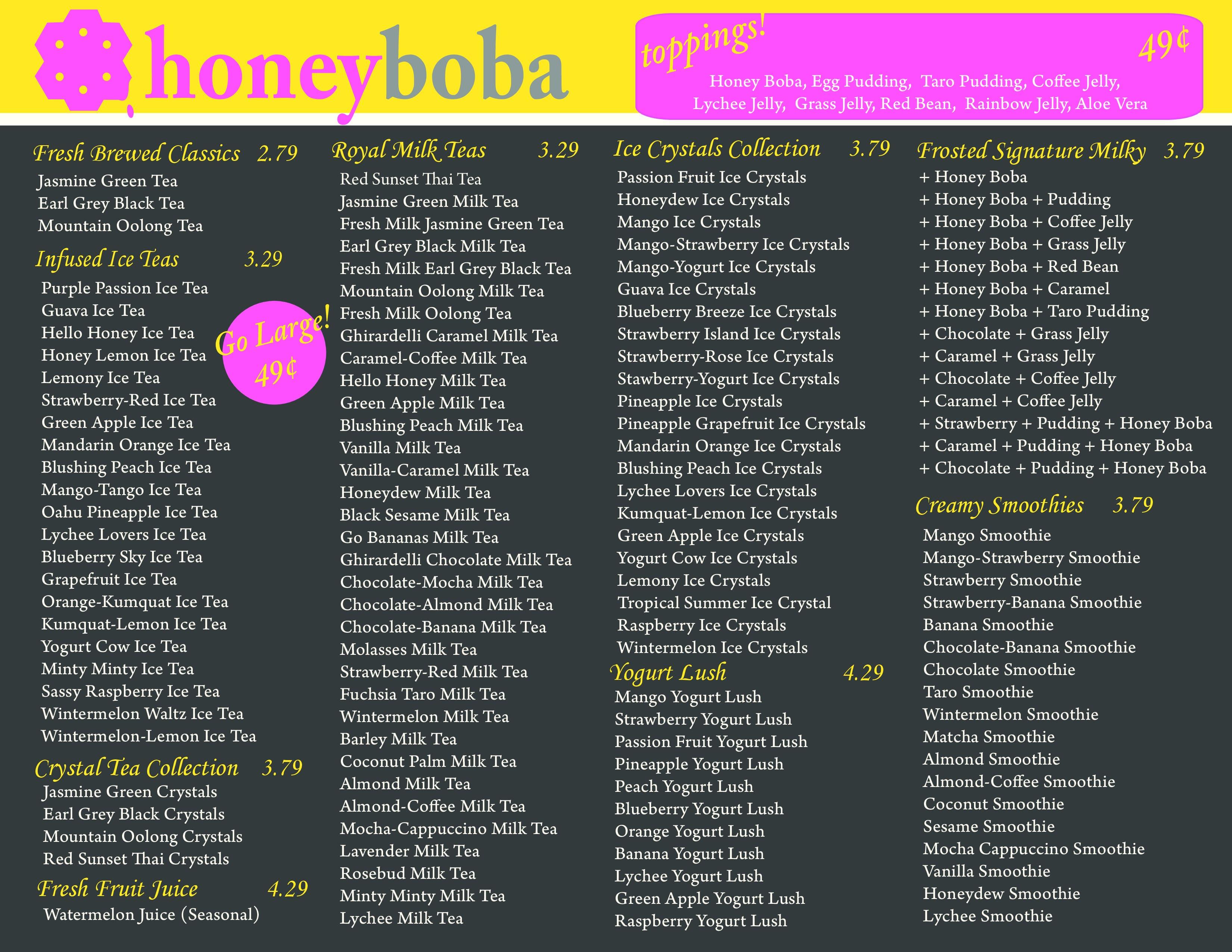 New Honey Boba Menu