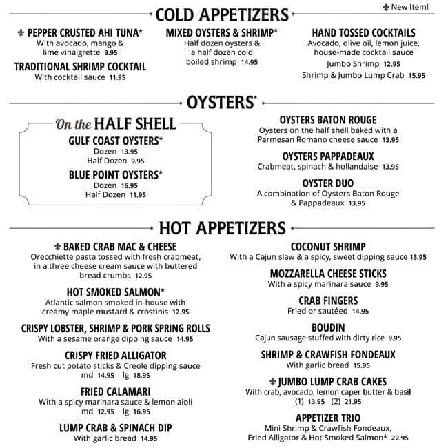 Pappadeaux Seafood Kitchen Menu With Prices