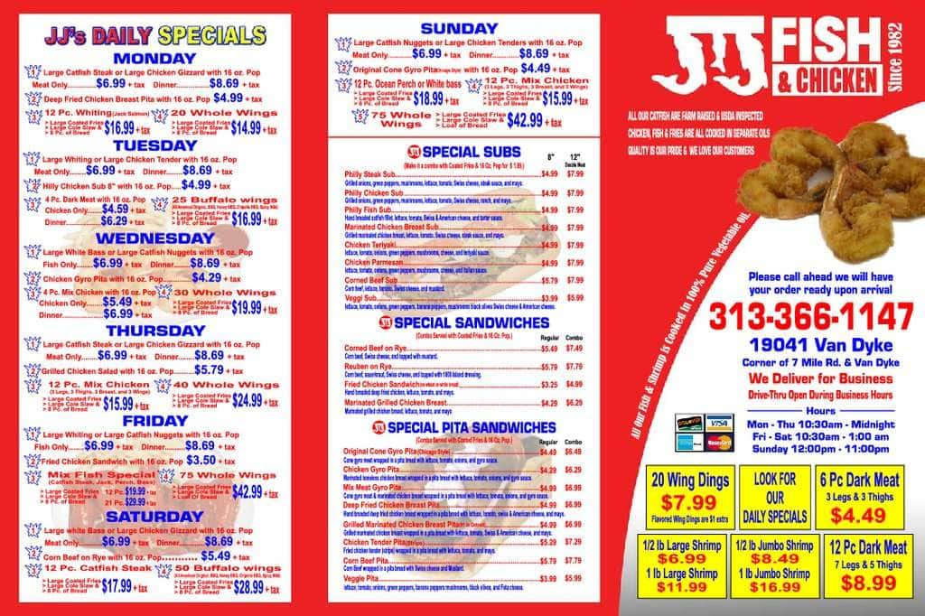 j j fish chicken menu menu for j j fish chicken