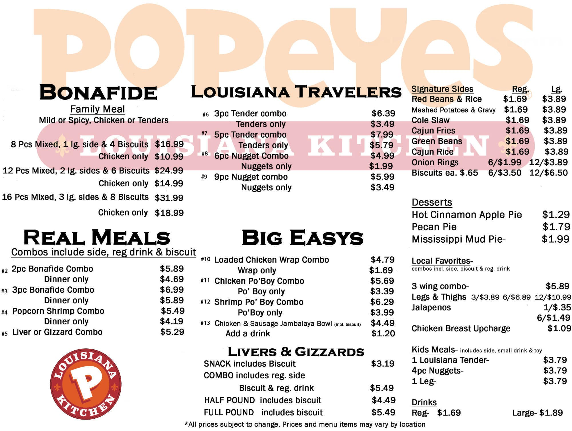 Popeyes Louisiana Kitchen Menu - Urbanspoon/Zomato
