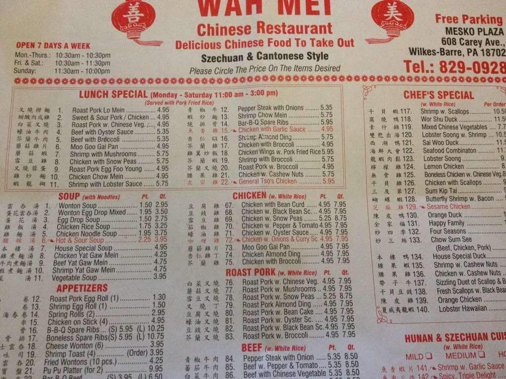 Wah mei chinese restaurant menu urbanspoon zomato for Cinese menu