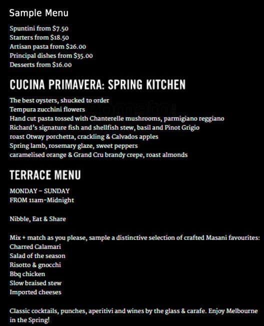 Masani italian dining terrace menu urbanspoon zomato for The terrace restaurant menu