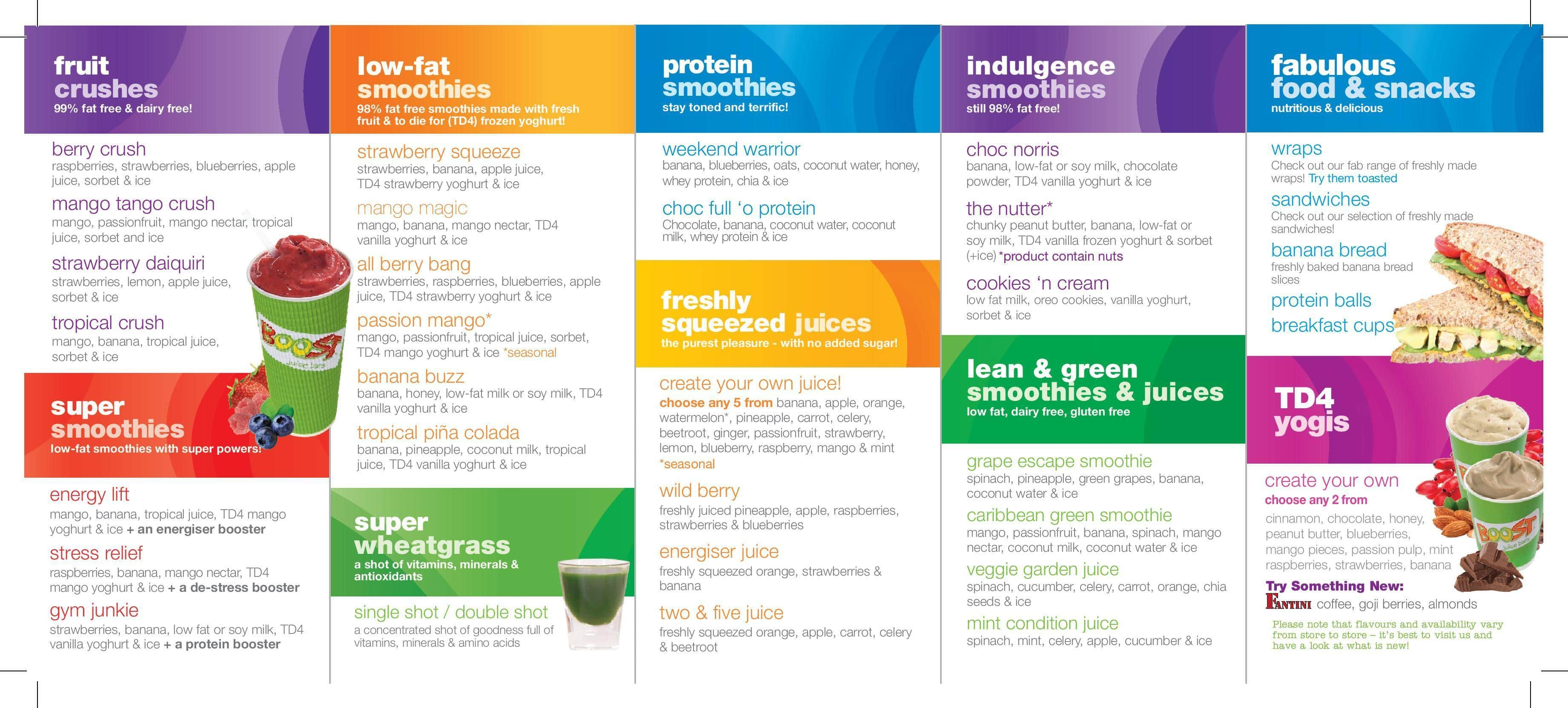 Image result for boost juice bars malaysia menu 2017