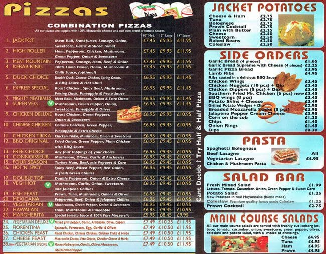 Express Pizza Co Menu Menu For Express Pizza Co Honor