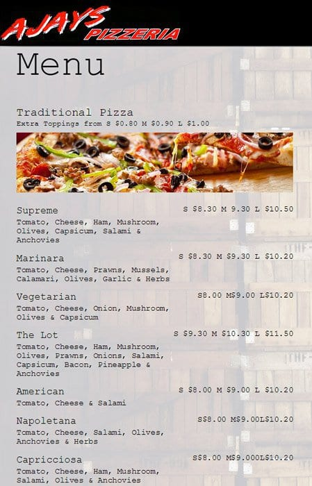 Ajays pizzeria menu menu for ajays pizzeria melton for Ajays catering cuisine