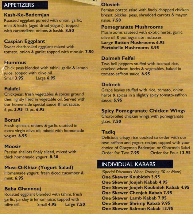 N.o.k. Persian Restaurant Menu at Noon-O-Kabab r...